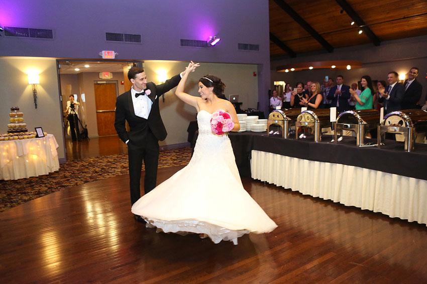 Bride and Groom Dance at the Pinnacle Ballroom