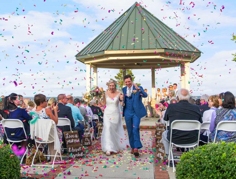 Wedding ceremony at the Gazebo at Drees Pavilion