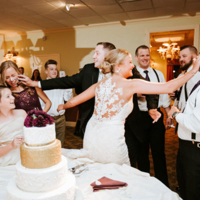 Wedding Cake Fight with the bridal party